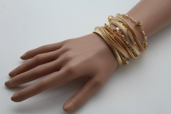 Gold Silver Metal Bracelet Mesh Chain 5 Strands Wide Wrist Beads New Women Fashion Jewelry Accessories - alwaystyle4you - 7