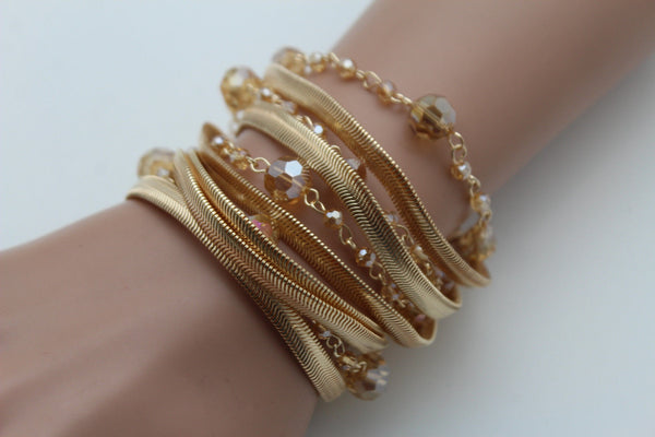 Gold Silver Metal Bracelet Mesh Chain 5 Strands Wide Wrist Beads New Women Fashion Jewelry Accessories - alwaystyle4you - 9
