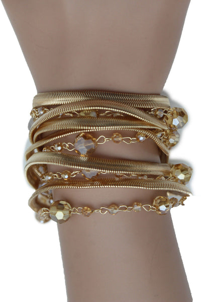 Gold Silver Metal Bracelet Mesh Chain 5 Strands Wide Wrist Beads New Women Fashion Jewelry Accessories - alwaystyle4you - 12