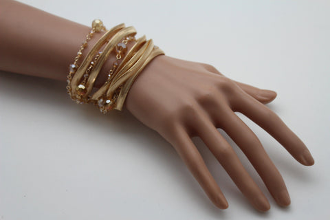 Gold Silver Metal Bracelet Mesh Chain 5 Strands Wide Wrist Beads New Women Fashion Jewelry Accessories - alwaystyle4you - 1