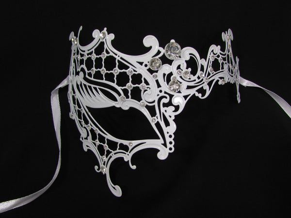 White Half Face Right Side Mask Rhinestones Back Tie Women Mardi Gras Halloween Accessories