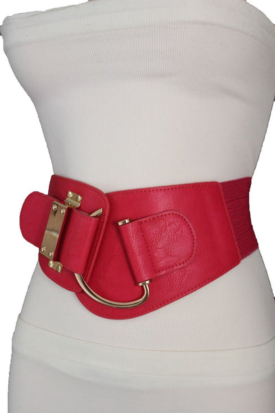 Blue Navy Blue Red White Pink Green Turquize Black Brown Dark Brown Beige Gold Faux Leather Hip Waist Elastic Belt Big Gold Hook Buckle New Women Fashion Accessories Plus Size - alwaystyle4you - 30