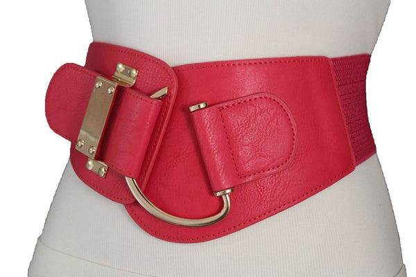 Blue Navy Blue Red White Pink Green Turquize Black Brown Dark Brown Beige Gold Faux Leather Hip Waist Elastic Belt Big Gold Hook Buckle New Women Fashion Accessories Plus Size - alwaystyle4you - 3
