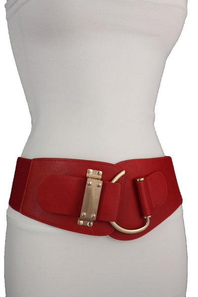 Blue Navy Blue Red White Pink Green Turquize Black Brown Dark Brown Beige Gold Faux Leather Hip Waist Elastic Belt Big Gold Hook Buckle New Women Fashion Accessories Plus Size - alwaystyle4you - 47