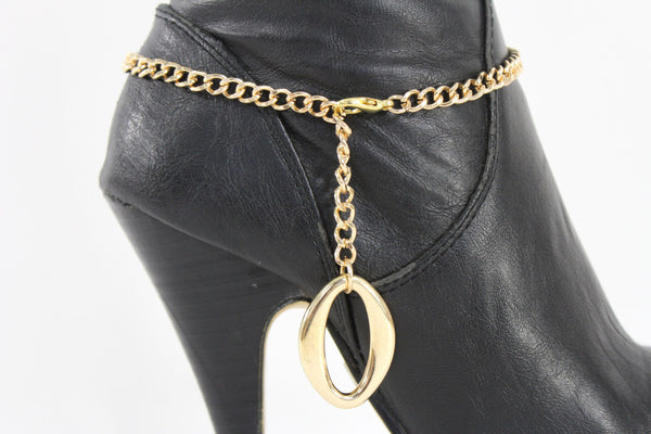 Gold Metal Boot Chain Bracelet Anklet Link 0 O Shoe Charm New Hot Women Fashion Jewelry - alwaystyle4you - 5