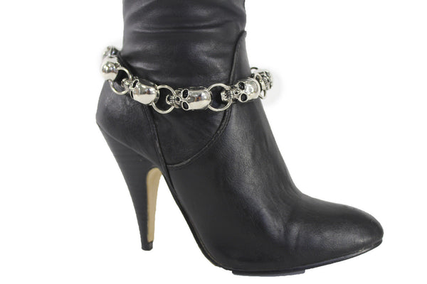 Boot Chain Bracelet Silver Metal Chain Skulls Shoe Charm Rocker New Women Accessories
