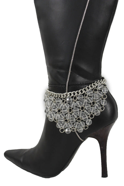 Silver Metal Chains Shoe Anklet Floral Beads Boot Bracelet New Women Fashion Jewelry