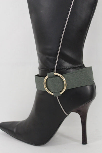Faux Leather Fabric Strap Shoe Bling Gold Ring Buckle Hot Sexy Boot Bracelet Women Accessories