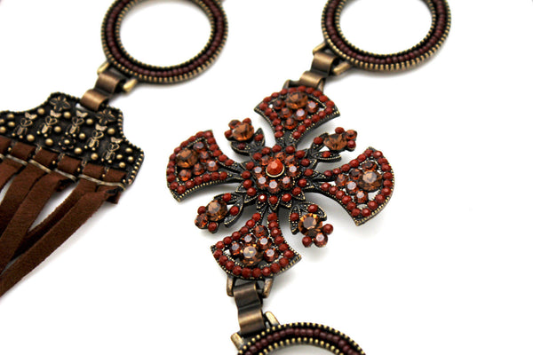 Dark Gold Metal Chain Tie Hip Waist Belt Red / Brown Faux Leather Fabric BIg Cross Red / Brown Beads And Rhinestones Charm New Women Fashion S M - alwaystyle4you - 5