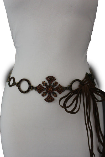 Dark Gold Metal Chain Tie Hip Waist Belt Red / Brown Faux Leather Fabric BIg Cross Red / Brown Beads And Rhinestones Charm New Women Fashion S M - alwaystyle4you - 3