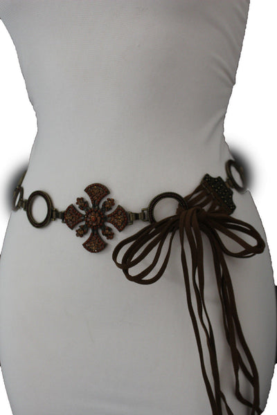 Dark Gold Metal Chain Tie Hip Waist Belt Red / Brown Faux Leather Fabric BIg Cross Red / Brown Beads And Rhinestones Charm New Women Fashion S M - alwaystyle4you - 9