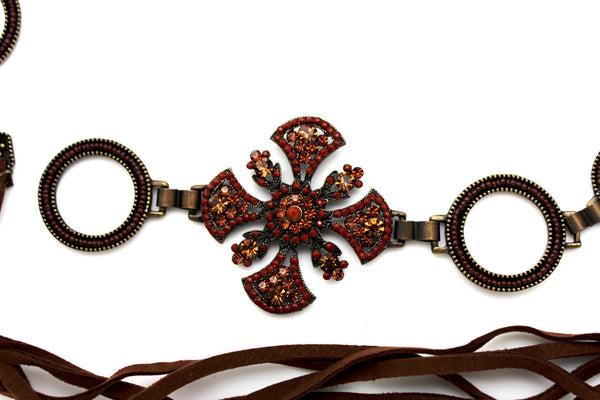 Dark Gold Metal Chain Tie Hip Waist Belt Red / Brown Faux Leather Fabric BIg Cross Red / Brown Beads And Rhinestones Charm New Women Fashion S M - alwaystyle4you - 11