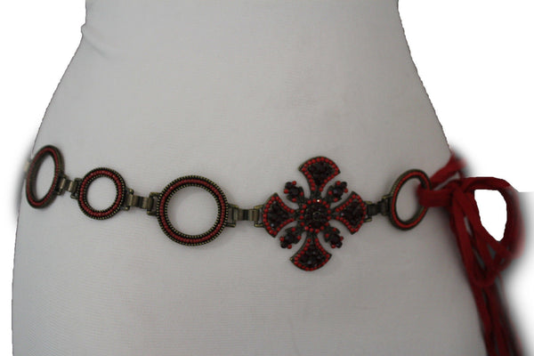 Dark Gold Metal Chain Tie Hip Waist Belt Red / Brown Faux Leather Fabric BIg Cross Red / Brown Beads And Rhinestones Charm New Women Fashion S M - alwaystyle4you - 20