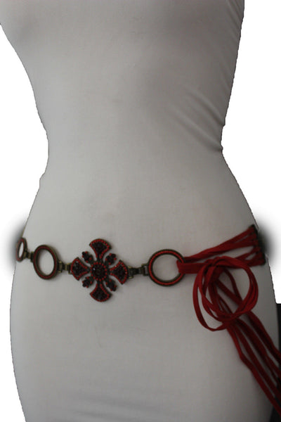 Dark Gold Metal Chain Tie Hip Waist Belt Red / Brown Faux Leather Fabric BIg Cross Red / Brown Beads And Rhinestones Charm New Women Fashion S M - alwaystyle4you - 21