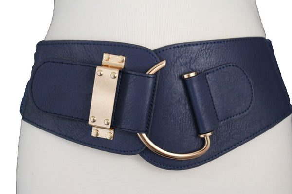 Blue Navy Blue Red White Pink Green Turquize Black Brown Dark Brown Beige Gold Faux Leather Hip Waist Elastic Belt Big Gold Hook Buckle New Women Fashion Accessories Plus Size - alwaystyle4you - 19