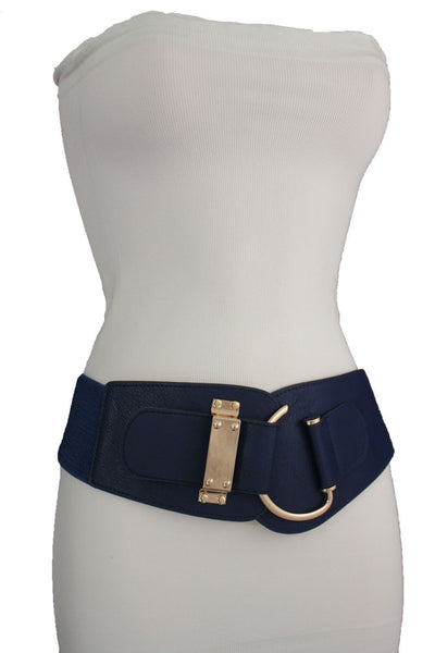 Blue Navy Blue Red White Pink Green Turquize Black Brown Dark Brown Beige Gold Faux Leather Hip Waist Elastic Belt Big Gold Hook Buckle New Women Fashion Accessories Plus Size - alwaystyle4you - 20