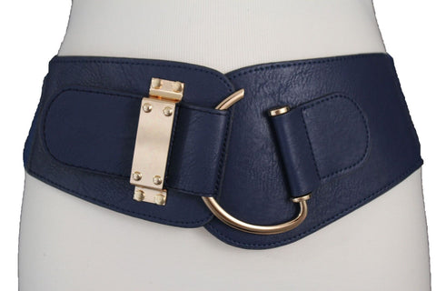 Blue Navy Blue Red White Pink Green Turquize Black Brown Dark Brown Beige Gold Faux Leather Hip Waist Elastic Belt Big Gold Hook Buckle New Women Fashion Accessories Plus Size - alwaystyle4you - 2