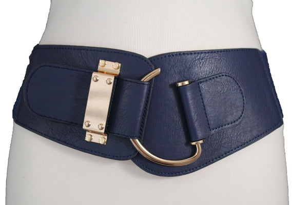 Blue Navy Blue Red White Pink Green Turquize Black Brown Dark Brown Beige Gold Faux Leather Hip Waist Elastic Belt Big Gold Hook Buckle New Women Fashion Accessories Plus Size - alwaystyle4you - 13