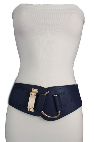 Blue Navy Blue Red White Pink Green Turquize Black Brown Dark Brown Beige Gold Faux Leather Hip Waist Elastic Belt Big Gold Hook Buckle New Women Fashion Accessories Plus Size - alwaystyle4you - 14