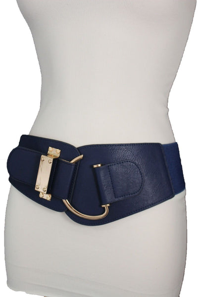 Blue Navy Blue Red White Pink Green Turquize Black Brown Dark Brown Beige Gold Faux Leather Hip Waist Elastic Belt Big Gold Hook Buckle New Women Fashion Accessories Plus Size - alwaystyle4you - 15