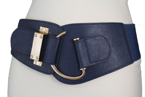 Blue Navy Blue Red White Pink Green Turquize Black Brown Dark Brown Beige Gold Faux Leather Hip Waist Elastic Belt Big Gold Hook Buckle New Women Fashion Accessories Plus Size - alwaystyle4you - 16