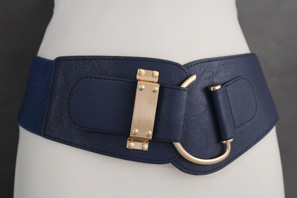 Blue Navy Blue Red White Pink Green Turquize Black Brown Dark Brown Beige Gold Faux Leather Hip Waist Elastic Belt Big Gold Hook Buckle New Women Fashion Accessories Plus Size - alwaystyle4you - 17