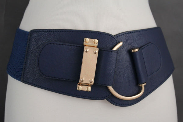 Blue Navy Blue Red White Pink Green Turquize Black Brown Dark Brown Beige Gold Faux Leather Hip Waist Elastic Belt Big Gold Hook Buckle New Women Fashion Accessories Plus Size - alwaystyle4you - 18