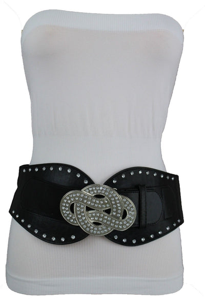 New Black Women Fashion Wide Stretch Belt Waist Hip Silver Metal Bling Infinity Buckle S M