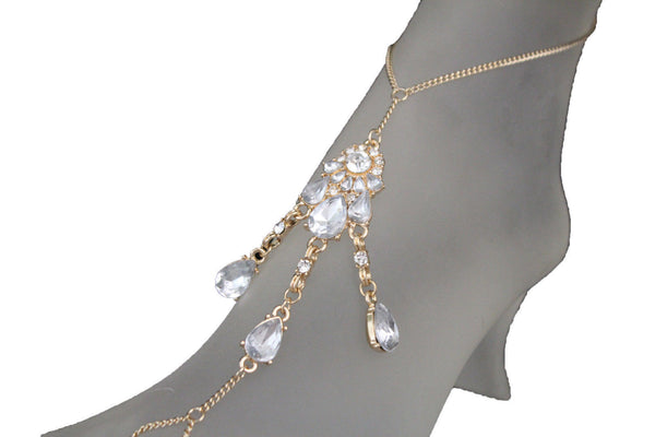 Gold Metal Chains Anklet Ethnic Bling Charm Foot Bracelet Clear Stones Women Fashion Accessories