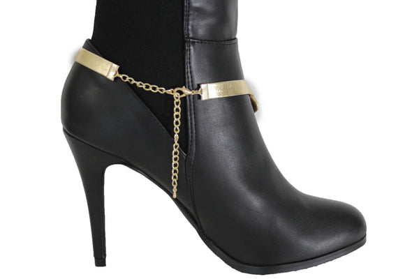 Gold Silver Boot Bracelet Shoe Anklet Thick Chain Links Chunky Big Squares Charm Women Accessories