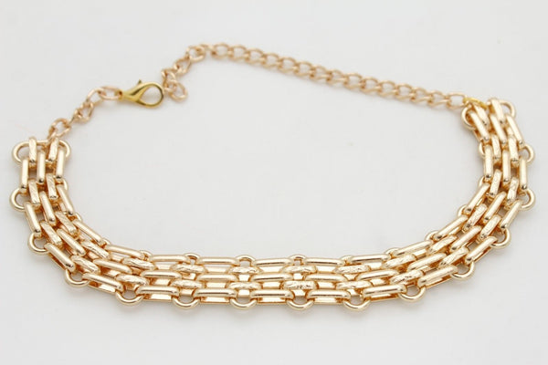Gold Metal Chain Link Fancy Look Boot Bracelet Mesh Strap Shoe Band New Women Accessories