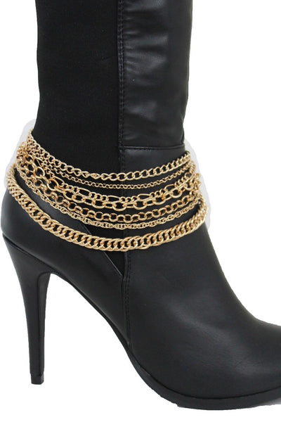 New Women Gold Silver Boot Chain Links Shoe Charm Multi Strands Waves Strap Western Style