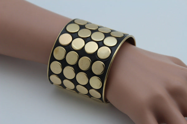 Black Metal Bracelet Cuff Gold  Circles Round Geometric Shapes New Women Fashion Jewelry Accessories - alwaystyle4you - 3