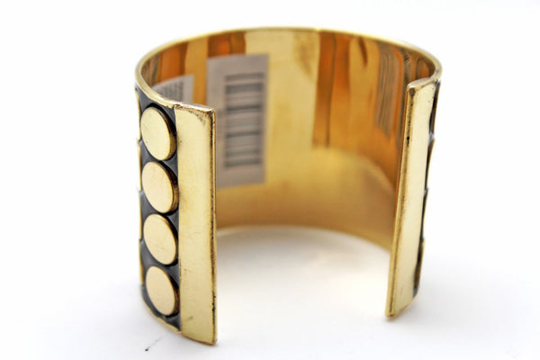Black Metal Bracelet Cuff Gold  Circles Round Geometric Shapes New Women Fashion Jewelry Accessories - alwaystyle4you - 4