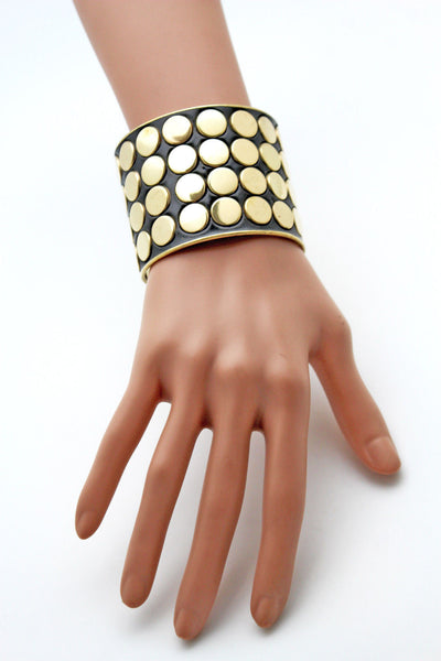 Black Metal Bracelet Cuff Gold  Circles Round Geometric Shapes New Women Fashion Jewelry Accessories - alwaystyle4you - 6