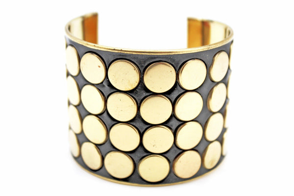Black Metal Bracelet Cuff Gold Circles Round Geometric Shapes New Women Fashion Jewelry Accessories