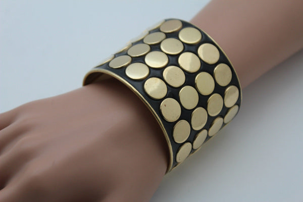 Black Metal Bracelet Cuff Gold  Circles Round Geometric Shapes New Women Fashion Jewelry Accessories - alwaystyle4you - 10
