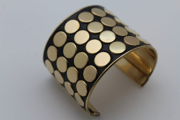 Black Metal Bracelet Cuff Gold  Circles Round Geometric Shapes New Women Fashion Jewelry Accessories - alwaystyle4you - 11