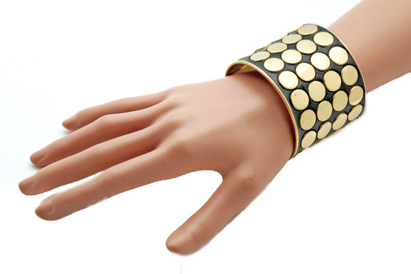 Black Metal Bracelet Cuff Gold  Circles Round Geometric Shapes New Women Fashion Jewelry Accessories - alwaystyle4you - 1