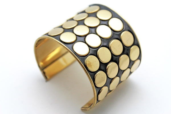 Black Metal Bracelet Cuff Gold  Circles Round Geometric Shapes New Women Fashion Jewelry Accessories - alwaystyle4you - 12