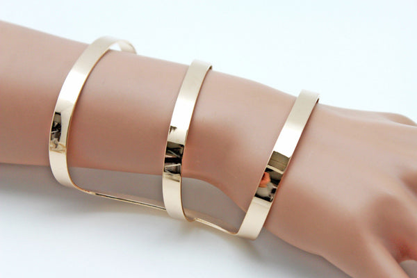 Gold Metal Bracelet Wrap Round Geometric Shapes 3 Stripes New Women Fashion Jewelry Accessories