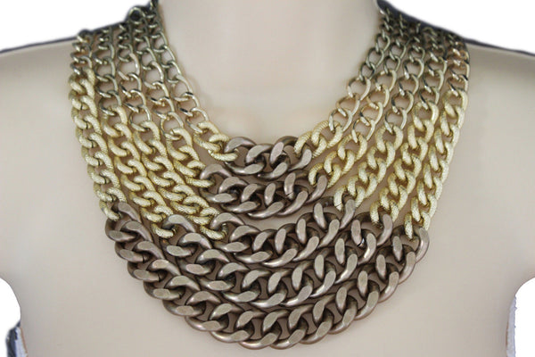 Gold Bronze Chunky Metal Chains 5 Strand Necklace + Earrings Set new Women  Fashion Jewelry - alwaystyle4you - 1