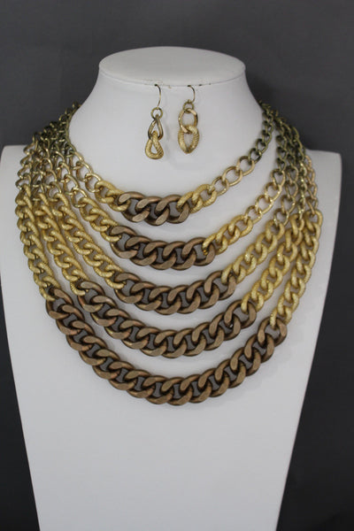 Gold Bronze Chunky Metal Chains 5 Strand Necklace + Earrings Set new Women  Fashion Jewelry - alwaystyle4you - 2