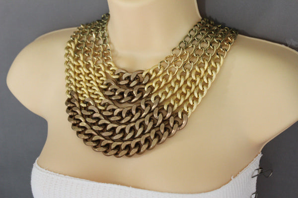 Gold Bronze Chunky Metal Chains 5 Strand Necklace + Earrings Set new Women  Fashion Jewelry - alwaystyle4you - 3