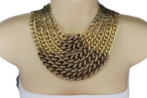 Gold Bronze Chunky Metal Chains 5 Strand Necklace + Earrings Set new Women  Fashion Jewelry - alwaystyle4you - 4