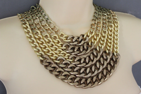 Gold Bronze Chunky Metal Chains 5 Strand Necklace + Earrings Set new Women  Fashion Jewelry - alwaystyle4you - 5
