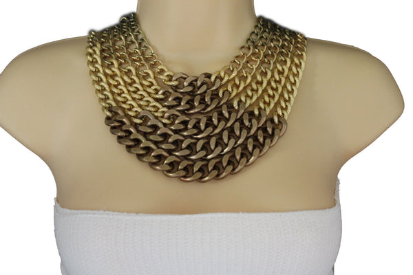 Gold Bronze Chunky Metal Chains 5 Strand Necklace + Earrings Set new Women  Fashion Jewelry - alwaystyle4you - 6