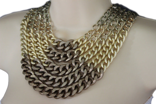 Gold Bronze Chunky Metal Chains 5 Strand Necklace + Earrings Set new Women  Fashion Jewelry - alwaystyle4you - 7