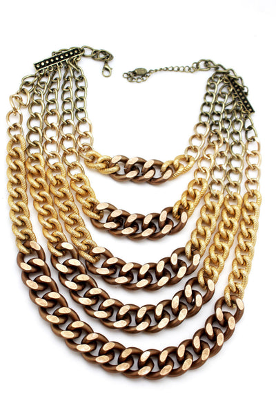 Gold Bronze Chunky Metal Chains 5 Strand Necklace + Earrings Set new Women  Fashion Jewelry - alwaystyle4you - 8