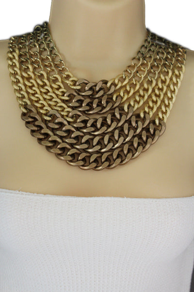 Gold Bronze Chunky Metal Chains 5 Strand Necklace + Earrings Set new Women  Fashion Jewelry - alwaystyle4you - 9